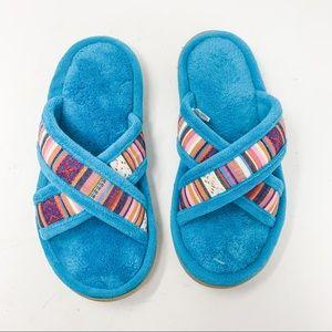 Isotoner Blue Plush Slipper Sandals